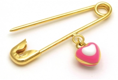 Pink & White Heart Golden Pin