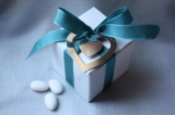 White and Teal Favor Box